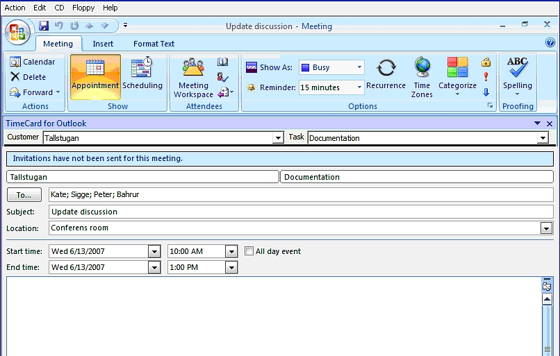 Screenshot für TimeCard for Outlook Single Version